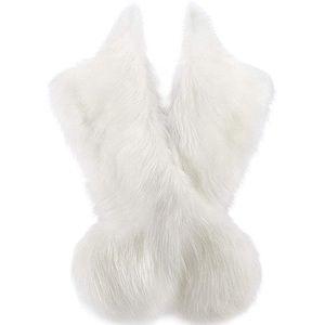 White Fur Shawl Wrap